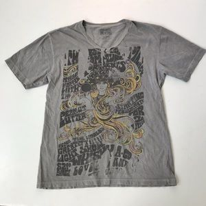 Converse One Star graphic tee t-shirt v-neck L